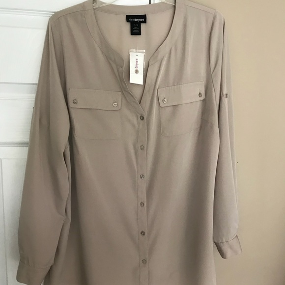 d834200fd40f3 Lane Bryant Taupe Button shirt 3 4 Sleeves 14 16